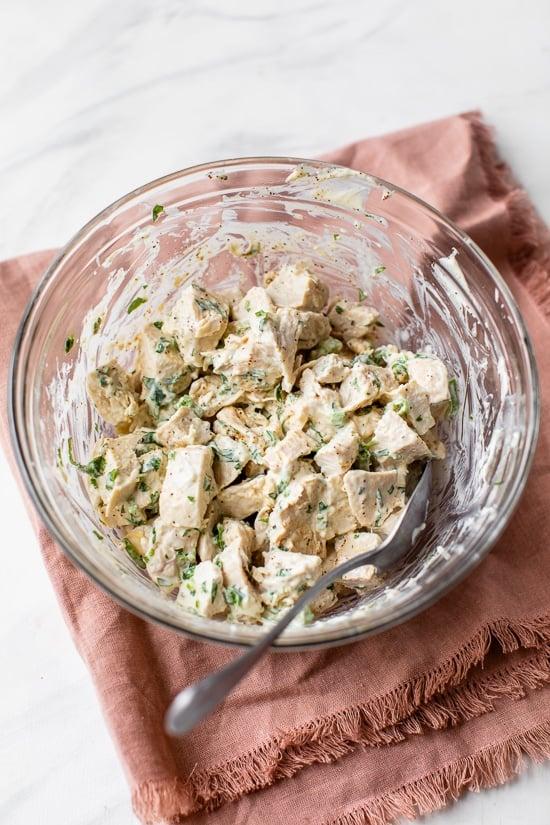 Cilantro Chicken Salad in a bowl