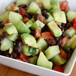 A touch of lime and a little cilantro makes this black bean, avocado, cucumber and tomato salad a perfect companion for grilled chicken or steak.