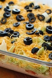 This skinny taco dip is easy to prepare and everyone always wants the recipe when they try it. Serve it at your next party with your favorite baked tortilla chips and play around with the toppings – try jalapeños, scallions or avocados.