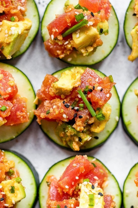 Tuna Tartare on cucumbers.