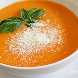 """Fresh summer """"Oh My God That Was Good"""" tomato bisque. Although you don't typically think of having tomato soup in August, I think it's the perfect time to make it."""