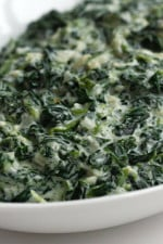 A creamy blend of spinach, shallots, parmesan cheese, and Boursin Light makes a rich and flavorful side dish. A low fat version of a steakhouse favorite.