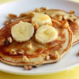 Calling all banana lovers to these low fat, whole wheat banana nut pancakes, rich in potassium, fiber and flavor – tastes like banana nut bread in a pancake!