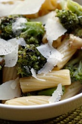 This easy and quick pasta dish is a guaranteed way to get picky eaters to love their broccoli, just roast it with garlic and olive oil!
