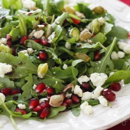 A simple yet elegant salad, easy enough to enjoy as a quick lunch or extravagant enough to make it to your holiday table. Each bite you take will give you a burst of flavor from the pomegranate arils.