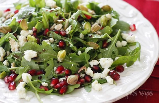 Arugula with Pomegranates, Blue Cheese and Pistachios | Skinnytaste