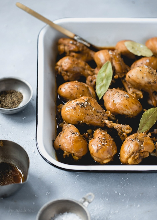 Chicken braised in vinegar and a soy sauce with lots of garlic. As this simmers, your kitchen will be filled with an intoxicating sweet and sour aroma that will leave you anxious to eat.
