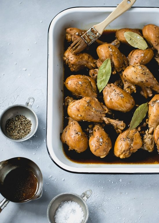 Filipino Adobo Chicken – Chicken braised in vinegar and soy sauce with lots of garlic. This easy, savory chicken dish has become a staple in my home. As this simmers, your kitchen will be filled with an intoxicating sweet and sour aroma that will leave you anxious to eat.