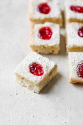Strawberry Squares, these delicious baked treats are easy to make, feel free to use your favorite pie filling flavor!