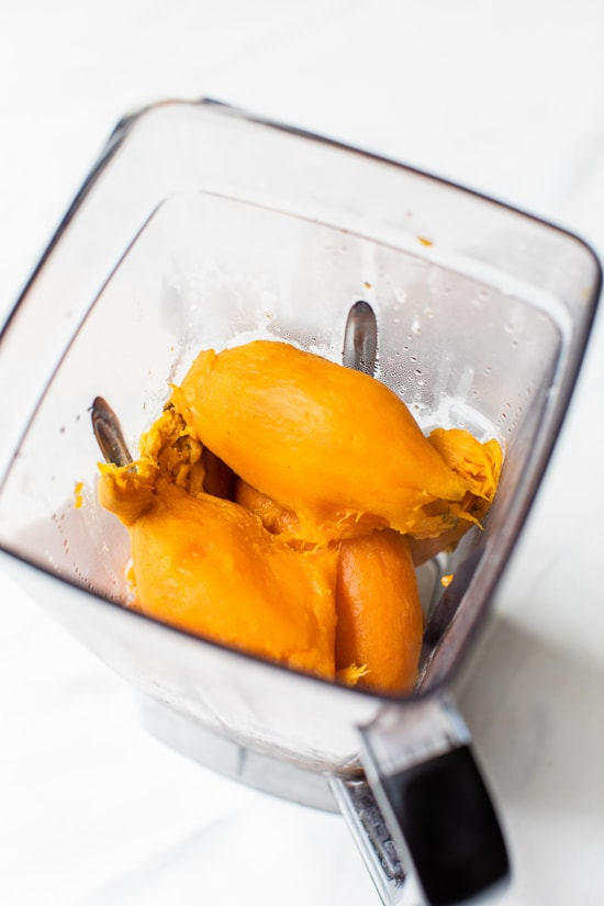boiled sweet potatoes in a blender