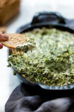 Hot and cheesy spinach dip, grab a chip, toast or crudites and dig in! Perfect for any gathering, you can double or triple the recipe as needed.