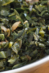 Collard greens sliced thin sauteed with bacon, garlic and oil. A perfect side dish for Brazilian black beans or black eyed peas with ham.