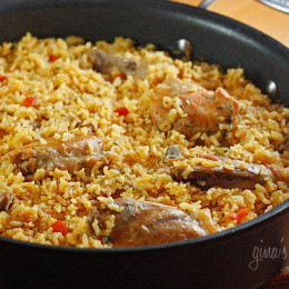Arroz con pollo, or chicken and rice is the ultimate one dish meal for my family. So many people ask me about my favorite dishes I make at home for my family, well this is certainly one of them! We like to serve this with hot sauce or Colombian aji picante and a simple green salad on the side.
