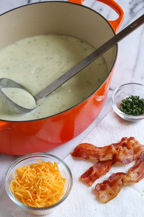 This slimmed down version of a loaded baked potato soup has everything you love about a baked potato – sour cream, cheddar, bacon and chives, at a fraction of the calories!