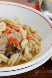 A hearty bowl of this chicken and Cavatelli pasta will fill your tummy and warm your soul. This dish is somewhere between a soup and a stew, the flavors reminiscent of my Dad's chicken and dumplings I grew up eating. You may want to set your table with spoons AND forks!