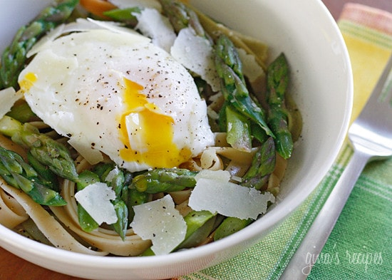 Asparagus and Poached Eggs over Pasta | Skinnytaste