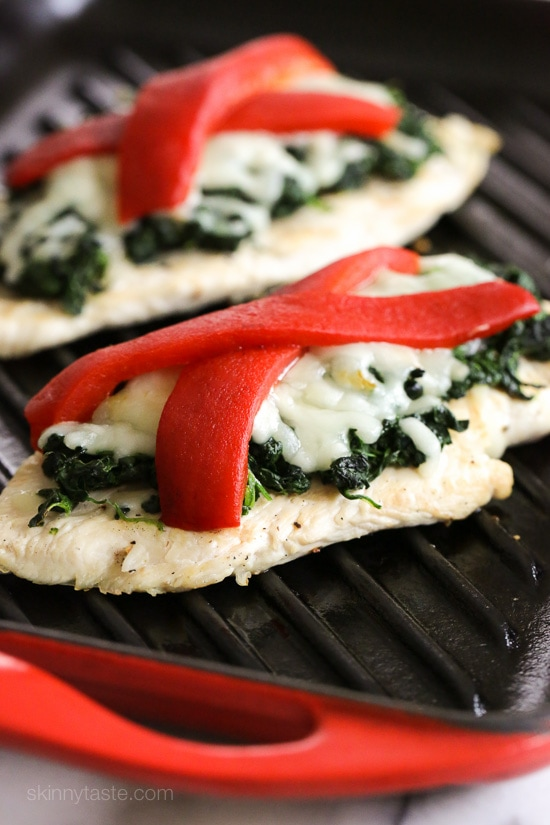 Grilled Chicken with Spinach and Melted Mozzarella | Skinnytaste