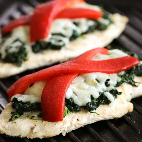 Grilled chicken with spinach and melted mozzarella skinnytaste forumfinder Image collections
