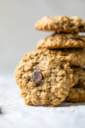 These Chewy Chocolate Chip Oatmeal Cookies are moist and made light by swapping out most of the butter for applesauce which works great!