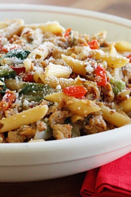 A bowl of Pasta with Italian Chicken Sausage, Peppers and Escarole