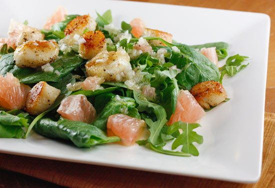Seared Scallops, Grapefruit, Arugula and Spinach Salad ...