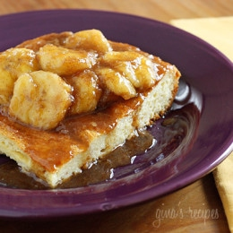 Dessert for breakfast? This make-ahead baked French toast casserole topped with Bananas Fosters will wow your guests this Easter! Put out some bowls of fresh berries and fruit and your guests wont even know this is a lightened up French Toast.