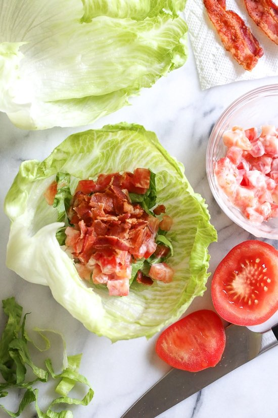 Skip the bread and enjoy all the flavors you love in a BLT, without all the carbs in these easy lettuce wraps! So easy and seriously satisfies my BLT cravings. Add some avocado if you wish!