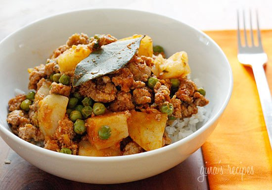 Spring peas, ground turkey, cumin, cilantro and potatoes come together to create this quick comforting weeknight dish.