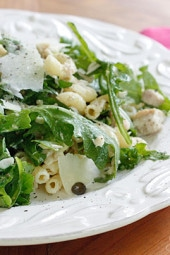 Don't like mayonnaise? Then you'll love this mayo-less tuna macaroni salad made with canned tuna, arugula, capers and pasta topped with shaved Parmigiano Reggiano, olive oil and vinegar. Delicious, satisfying and perfect for lunch - it's tuna salad all grown up!