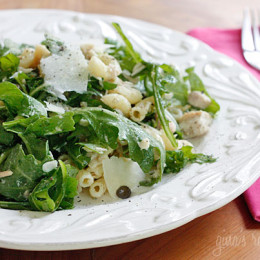 Don't like mayonnaise? Then you'll love this salad made with canned tuna, arugula, capers and pasta topped with shaved Parmigiano Reggiano, olive oil and vinegar. Delicious, satisfying and perfect for lunch - it's tuna salad all grown up!