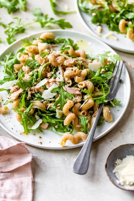 Cold Tuna Macaroni Salad with Arugula