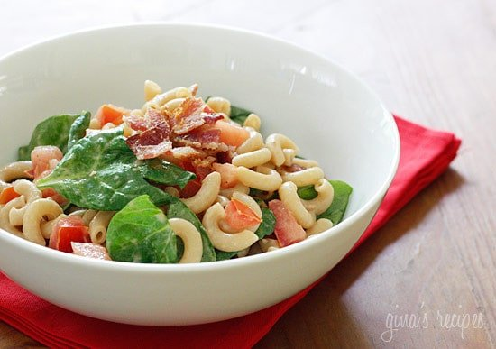 Dads like bacon so I thought a bacon, lettuce and tomato summer pasta salad would be a perfect side dish for your Father's Day picnic. The L in this BLT salad should really be an S but I didn't like the sound of a BST.