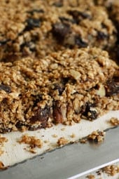 Moist and Chewy low fat granola bars loaded with oats, chocolate chips, raisins and pecans in every bite. Perfect for breakfast or an afternoon snack.