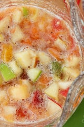Salpicón is a fresh homemade Colombian fruit beverage. It's served cold and loaded with chopped fruit such as watermelon, papaya, strawberries, pineapple, oranges, apples, bananas and carbonated soda.