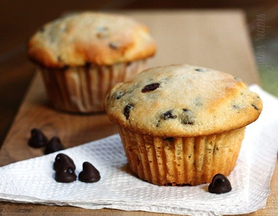 Moist chocolate chip muffins loaded with chocolate morsels in every bite. What a perfect way to start you morning if chocolate is your weakness. Also great as an afternoon snack.