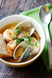 A great tasting hearty seafood and shellfish soup made with halibut, littleneck clams and shrimp. Serve this with a crusty piece of bread and you have yourself a complete meal.