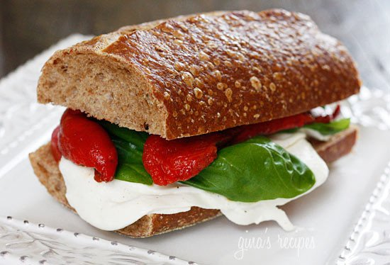 Rustic whole wheat Italian bread, fresh mozzarella, summer tomatoes, basil and balsamic vinegar. My favorite meatless sandwich!
