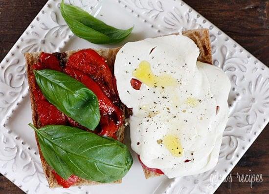 Tomato, Fresh Mozzarella, Roasted Pepper on Whole Wheat Bread ...