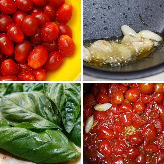 Grape tomatoes, garlic cooking in olive oil, basil leaves, cooked grape tomatoes with garlic