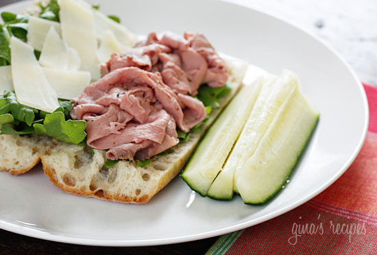 Crusty bread, peppery arugula and fresh shaved Parmesan cheese makes an everyday cold cut like roast beef taste like a gourmet sandwich.