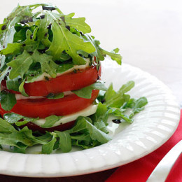 tomato-mozzarella-arugula-tower
