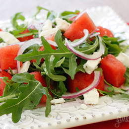 A refreshing summer salad, made with sweet watermelon, peppery arugula and feta cheese.