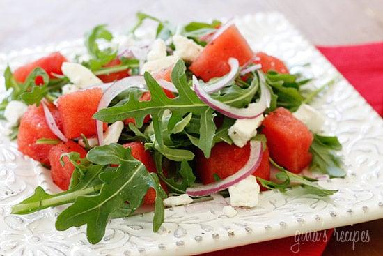 Watermelon Arugula and Feta Salad