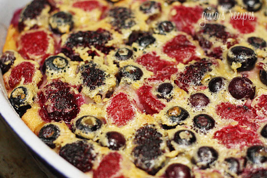 I typically gravitate to warm fruit desserts, berry custards, or bread puddings, so naturally a Flaugnarde of mixed berried (Clafoutis) has my name all over it. The perfect ending to any meal.