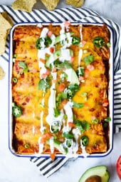 These are the BEST Chicken enchiladas, my dish of choice anytime I go out for Mexican! If you're an enchilada lover like me, you will love these!!
