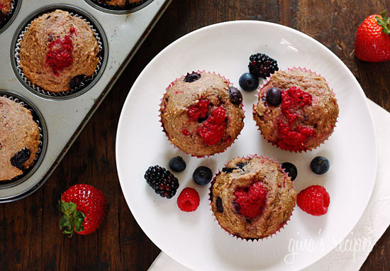 Fresh raspberries, strawberries, blueberries and blackberries baked in low-fat whole wheat muffins. Perfect for breakfast or to enjoy as a snack.
