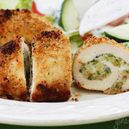 Chicken breast stuffed with shredded zucchini, garlic and mozzarella cheese, rolled then dipped in oil and fresh lemon juice, breaded and baked to perfection!