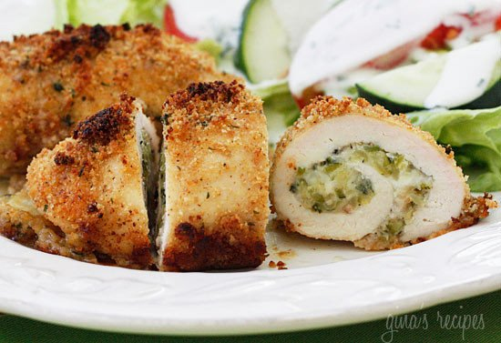 Shredded zucchini, garlic and mozzarella cheese rolled in chicken cutlets, then dipped in oil and fresh lemon juice, breaded and baked to perfection! This is a wonderful way to use up end of summer zucchini and your family will love this, even the non-vegetable lovers!!