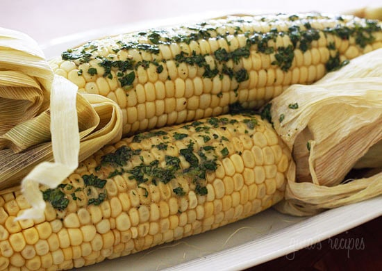 Roasted Corn with Cilantro Butter | Skinnytaste