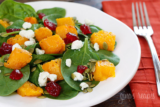 The sweet-salty combination of the roasted butternut squash, dried cherries and gorgonzola cheese along with the slight crunch of the pumpkin seeds topped with a honey dijon vinaigrette will have you savoring every bite of this spinach salad!